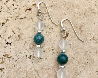 Sterling Silver Earrings with Apatite Stone and Quartz