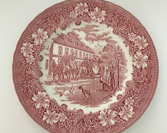 Plates,Royal Tudor Ware,  Ironstone,, Crazing ,Coaching Taverns , Red and Cream,Diner Plates, Coaching Tavern , Seven 10 inch
