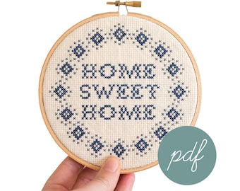 Home Sweet Home, Simple, Modern Cross Stitch Pattern *PDF Only