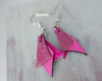 Hot Pink & Black Leather Earrings (short)