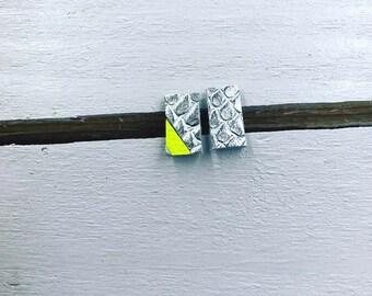 Mini Metallic Silver & Fluorescent Yellow Mosaic Leather Stud Earrings