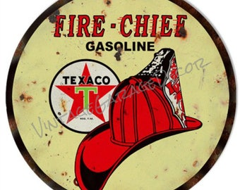 """Vintage Style """" Texaco Fire Chief """" Round Metal Sign (Rusted)"""