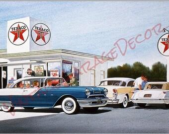Texaco Gas Station - Pontiac Reproduction Garage Shop Sign  - Jack Schmitt Artwork on Metal Sign