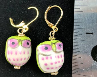 Green and pink owls #77