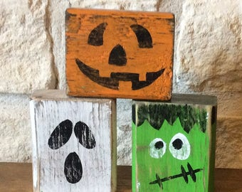 Monster Halloween Trio Wood Shelf Sitters-Halloween Decor-Pumpkin, Frankenstein and Ghost Monster Trio
