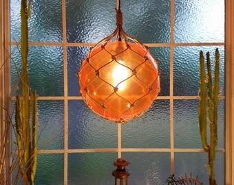 Nautical Ceiling Light Pendant, Orange, Hanging Lamp, Tiki, Fishing Float, Rope Lamp, Beach Decor, Nautical Decor, Fishnet, Sea, Sailing