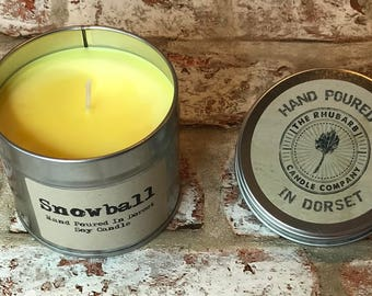 Snowball  Hand Poured Soy Wax Candle With Cotton wick. Made in Dorset
