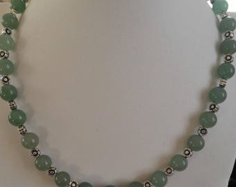 Necklace green Aventurine, stone for the skin, and tibet Silver Flower beads