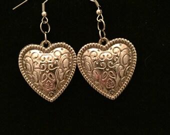 Silver Etched Heart Drop Earrings
