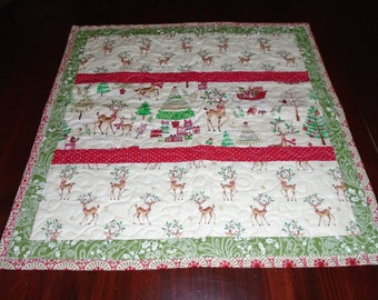Quilted Table Topper, Christmas Table Topper, Christmas, Reindeer, Red, Green, Table Mat, Table Topper, Handmade Table Topper