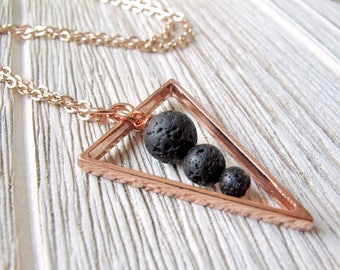 Triangle Necklace, Essential Oil Diffuser Necklace, Gift for Her, Aromatherapy Jewelry, Triangle Lava Stone Necklace, FoxAndBearEssentials