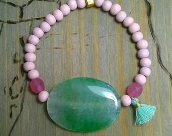 Bracelet agate green rose