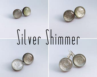 Silver Shimmer Round Resin/Bamboo Earrings - various styles and bails • studs • clip ons • drop • dangles • surgical steel • silver plated