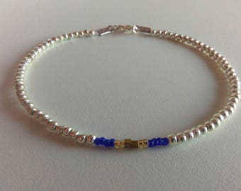 Silver Beaded Anklet Bracelet, Cobalt Blue Golden Ankle, Boho Gyspy Stretch Simple Anklet, Metal Beads Ankle, Body Jewelry, Stacking Ankle