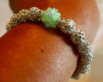 Beautiful Czech crystal disco-ball Rhinestone-beaded beaded bracelet in green & white; shamballa, beadweaving, handmade, cute