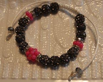 Beautiful Czech crystal disco-ball Rhinestone beaded bracelet; handmade, shamballa, beadweaving, cute, casual-wear, party-wear