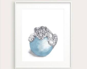 Baby Lion. Nursery Art. Nursery Decor. Baby Animal. Nursery Print. Baby's Room Decor. Animal Drawing. Kid's Wall Art, Kid's Decor. Baby Art
