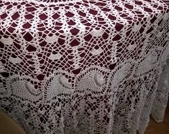 """90"""" Round Crocheted Tablecloth"""