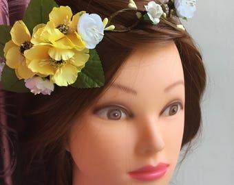 Sunflower Flower Bachelorette Party Flower Crown Veil Boho Flower Crown Braided Flower Crown Veil Bachelorette