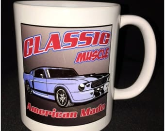 Classic Muscle Car Coffee Mug, Shelby Snake Mustang, Fast Back