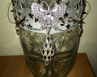 Metal Butterfly Goth Princess Studded Crown