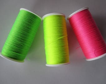 3 reels fluro polyester 200 yards each.