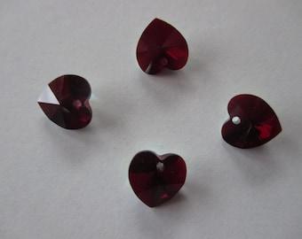 Set of 4 hearts swarovski crystal, color: Burgundy iridescent, 10 mm.