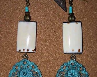 Turquoise Earrings - Tribal - Earrings - Festive - Metal