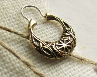 Men's earring Kolovrat bronze - cossack's earring - biker's earring - for men - viking's earring - slavic mythology - ethno earring