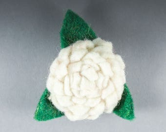 White Rose Felt Brooch