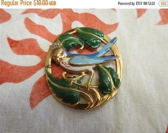 ON SALE stunning rare unsigned gold plate and enamel figural bird brooch