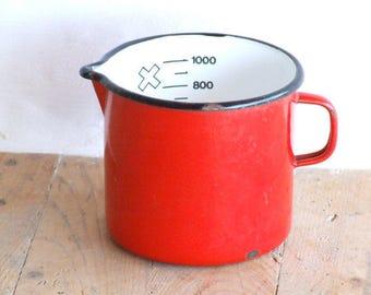 Vintage Red Enamel 1 litre Jug 12cm//Enamel jug//
