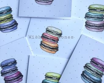 Macaroons - Cute hand drawn greeting card blank - wish card - birthday card - anniversary - congratulations card