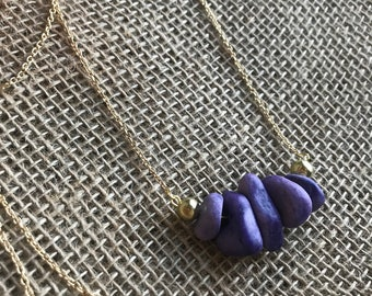 Purple and Gold Stone Necklace on Gold Chain