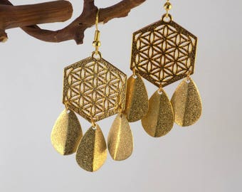 Golden Hexagon Rosette Earrings 3 Tassels