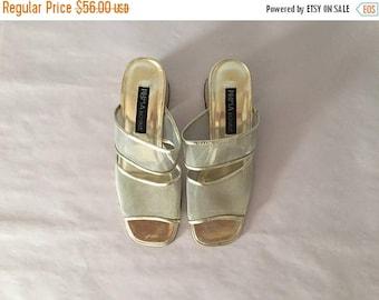 20% OFF SALE... mesh slip on heels || 1990s golden shimmer pumps || size 8.5