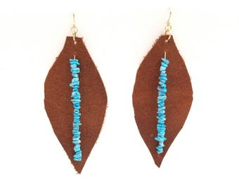 Leather & Turquoise Earrings