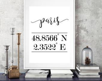 Genial Coordinates Paris Print, Paris Wall Art, Paris Print, Paris Poster,  Coordinates Home