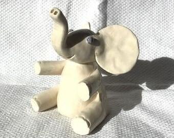 White Elephant - Ringholder - Elephant Ornament - Elephant Figurine - Ceramic Elephant - Pottery Elephant