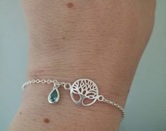 AquamarineTree of life bracelet, March birthstone, Sterling Silver rolo chain, Inspirational or Valentines gift