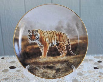 """Vintage """"Royal Bengal"""" Porcelain Collector Plate / Bengal Tiger Porcelain Plate / Charles Frace The Worlds Most Magnificent Cats"""