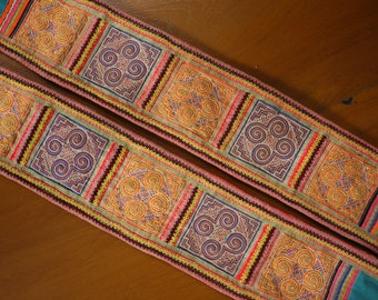 Antique vintage Hmong textile - asian tribal textile - belt pair from old costume - recycled textile piece - Hmong tribe costume embroidery