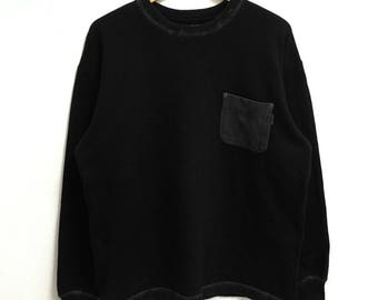 RARE!!! Karl Helmut Big Logo Single Pocket Crew Neck Black Colour Sweatshirts Hip Hop Swag L Size