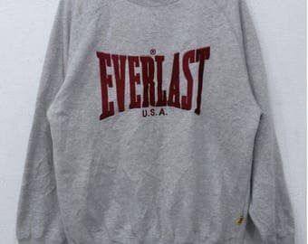 RARE!!! Everlast Usa Big Logo Embroidery Crew Neck Grey Colour Sweatshirts Hip Hop Swag L Size