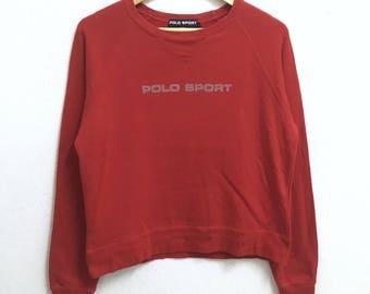 RARE!!! Polo Sport Ralph Lauren Big Logo Crew Neck Red Colour Sweatshirts Hip Hop Swag L (Ladies) Size