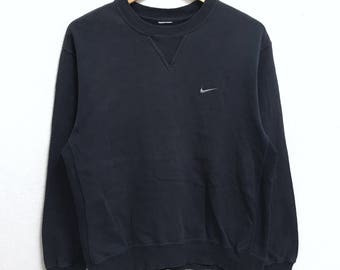 RARE!!! Nike Swoosh Small Logo Embroidery Crew Neck Dark Blue Colour Sweatshirts Hip Hop Swag M Size