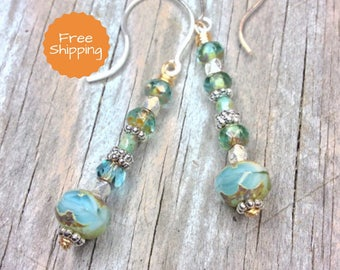 Beaded Earrings - Dangle Earrings - Drop Earrings - Boho Earrings - Boho Chic Earrings - Boho Style Earrings - Crystal Earrings