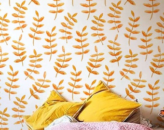 Orange valnut leaves wallpaper , Boho wall sticker , Temporary Wallpaper, BW003