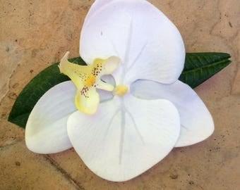 Tropical white orchid flower hair clip