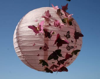 hanging paper Lantern decorated with butterflies of different sizes